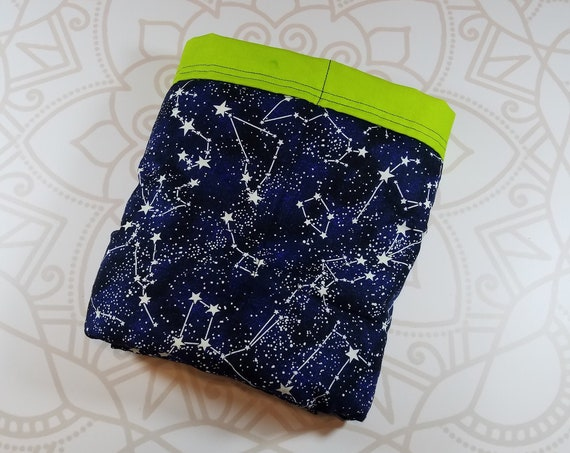 Ready To Ship, 5 Pound, 28x32, WEIGHTED BLANKET, Glow in the Dark Constellation, Lime Cotton Back, Autism, ADHD, Calming, Anxiety