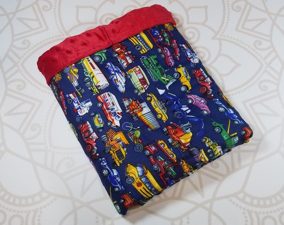 Ready To Ship, 4 Pound, 28x32, WEIGHTED BLANKET, Transportation, Red Minky Back, Autism, Sensory, ADHD, Calming, Anxiety, ptsd