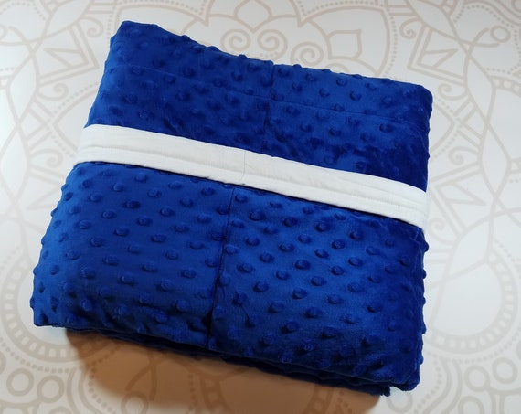 READY to SHIP, 40x42, 10 pounds, Weighted Blanket, Royal Blue Minky Front, White Cotton Back, Sensory Blanket, Calming Blanket,
