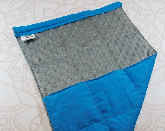 READY TO SHIP, Gray Minky Front, Turquoise Woven Cotton Back, Lap Pad/Weighted Blanket, 3 pounds, 14x22, Small Weighted Blanket