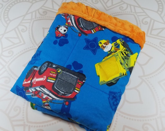 Ready To Ship, 4 Pound, 28x32, WEIGHTED BLANKET, Character, Orange Minky Back, Autism, Sensory, ADHD, Calming, Anxiety, ptsd
