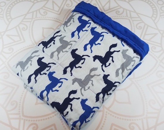 Ready To Ship, 4 Pound, 28x32, WEIGHTED BLANKET, Horses, Royal Blue Minky Back, Autism, Sensory, ADHD, Calming, Anxiety, ptsd