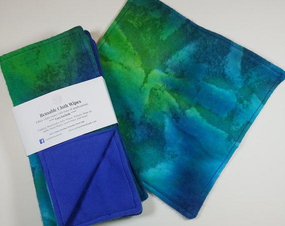5 Reusable CLOTH WIPES, UnPaper Napkins, Washcloths, Baby Wipes, Eco Friendly, Cloth Diapering Necessity