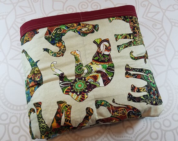 READY to SHIP, 40x70-20 Pounds, Weighted Blanket, Tribal Elephants, Burgundy Cotton Back, Sensory Blanket, Calming Blanket,