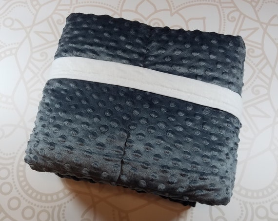 READY to SHIP, 40x70-15 Pounds, Weighted Blanket, Charcoal Minky, White Woven Cotton Backing, Sensory Blanket, Calming Blanket,