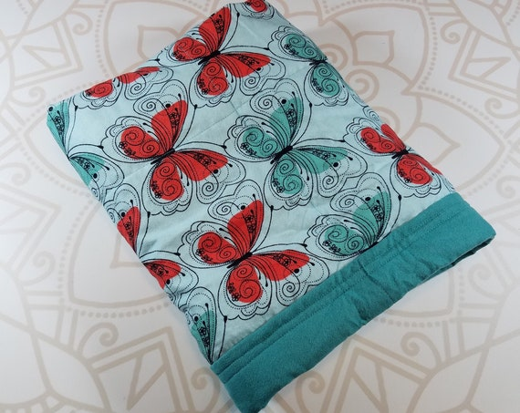 Ready To Ship, 4 Pound, 28x32, WEIGHTED BLANKET, Butterfly, Teal Cotton Flannel Back, Autism, Sensory, ADHD, Calming, Anxiety, ptsd