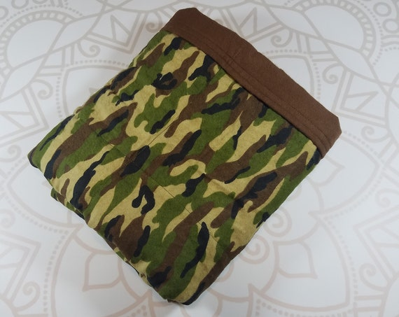 Ready To Ship, 4 Pound, 28x32, Cammo, Brown Cotton Flannel Back, WEIGHTED BLANKET, Autism, Sensory, ADHD, Calming, Anxiety