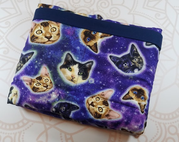 Ready To Ship, 9 Pound, Space Cats, Navy Cotton, 9 Pound, WEIGHTED BLANKET, Ready To Ship, 9 pounds, 38x42 for Autism, Sensory