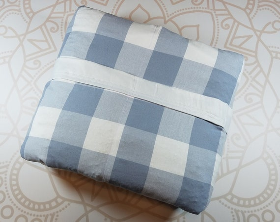 READY to SHIP, 40x70-10 Pounds, Weighted Blanket, Gray Checker Woven Cotton, White Cotton Backing, Sensory Blanket, Calming Blanket,