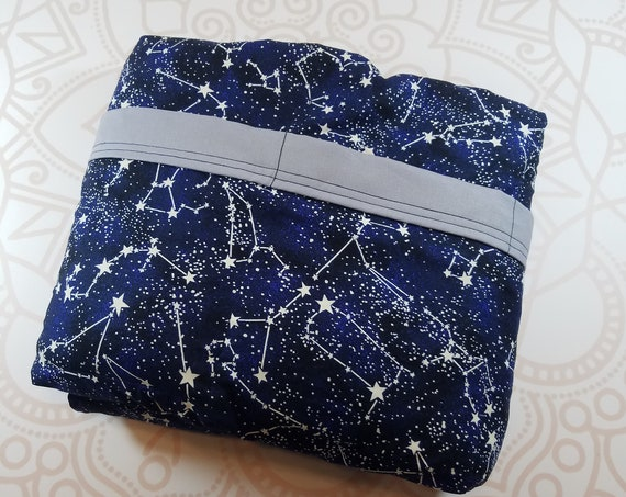 READY to SHIP, 40x70-20 Pounds, WeightedBlanket, Constellation Woven Cotton, Gray Cotton Backing, Sensory Blanket, Calming Blanket,