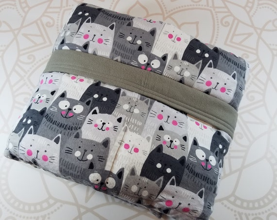READY to SHIP, Weighted Blanket, 40x70-15 Pounds, Gray Cats Cotton Flannel, Sensory Blanket, Calming Blanket,