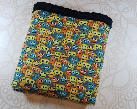 READY TO SHIP, 40x42, 6 pounds, Silly Monsters Cotton Flannel Front, Black Minky Back, Weighted Blanket, Autism, Minky weighted blanket