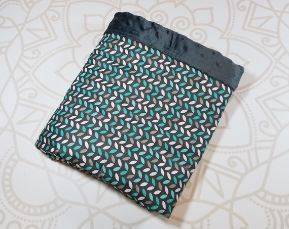 READY to SHIP, Weighted Blanket, 28x32-3 Pounds, Teal Gray Leaves Front, Charcoal Minky Back, Sensory Blanket, Calming Blanket,