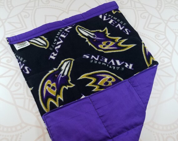 READY TO SHIP, Team Fleece Front, Purple Woven Cotton Back, Lap Pad/Weighted Blanket, 3 pounds, 14x22, Small Weighted Blanket