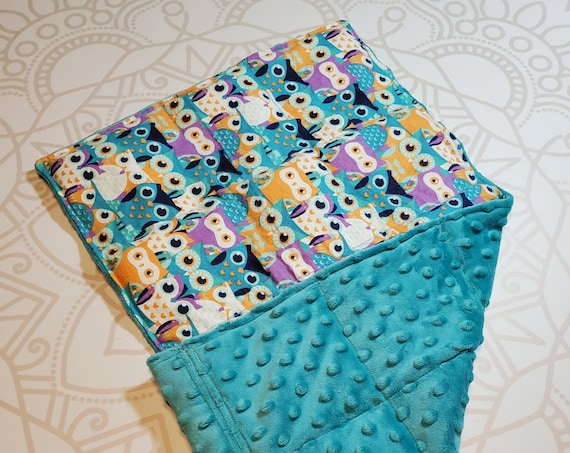READY TO SHIP, Owl Front, Teal Minky Back, Lap Pad/Weighted Blanket, 3 pounds, 14x22, Small Weighted Blanket