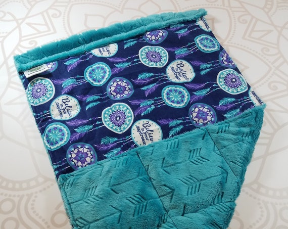 READY TO SHIP, Dreamcatcher Front, Teal Arrow Embossed Minky Back, Lap Pad/Weighted Blanket, 3 pounds, 14x22, Small Weighted Blanket