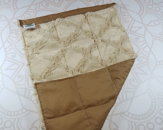 READY TO SHIP, Tan Lattice Minky Front, Beige Woven Cotton Back, Lap Pad/Weighted Blanket, 3 pounds, 14x22, Small Weighted Blanket