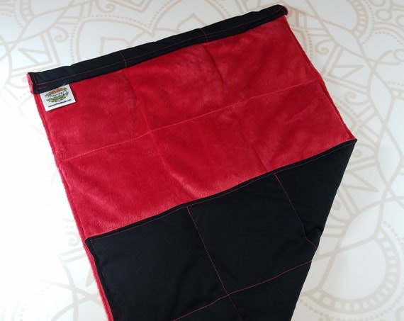 READY TO SHIP, Red Smooth Minky Front, Black Woven Cotton Back, Lap Pad/Weighted Blanket, 3 pounds, 14x22, Small Weighted Blanket