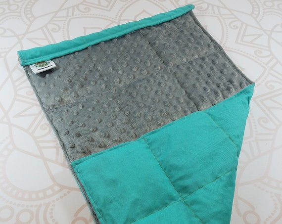 READY TO SHIP, Gray Minky Front, Teal Woven Cotton Back, Lap Pad/Weighted Blanket, 3 pounds, 14x22, Small Weighted Blanket