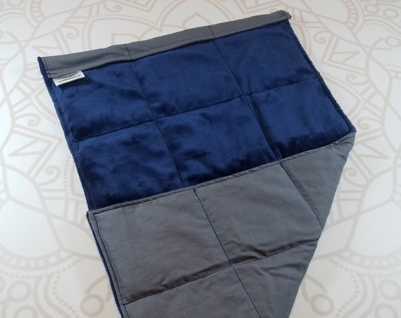 READY TO SHIP, Navy Smooth Minky Front, Charcoal Woven Cotton Back, Lap Pad/Weighted Blanket, 3 pounds, 14x22, Small Weighted Blanket
