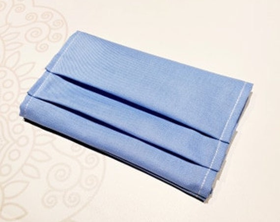 READY to SHIP, Face Mask COVER, For Ear Looped Masks, Ceil Blue Color, Washable Mask Cover