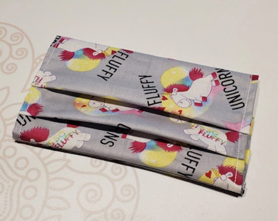 Face Mask COVER, For Ear Looped Masks, Unicorn Print, For Adult Size Masks, Washable Mask Cover