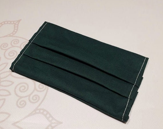 READY to SHIP, Face Mask COVER, For Ear Looped Masks, Hunter Green Color, Washable Mask Cover