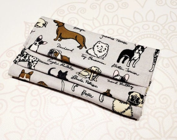 READY to SHIP, Face Mask COVER, For Ear Looped Masks, Dog Breed Print, For Adult Size Masks, Washable Mask Cover