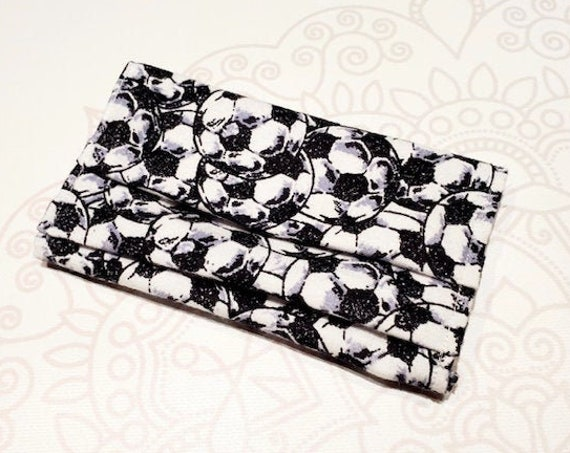 Face Mask COVER, For Ear Looped Masks, Soccer Print, For Adult Size Masks, Washable Mask Cover