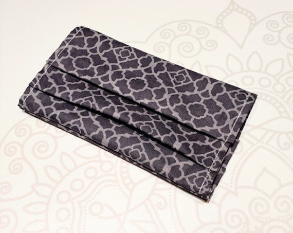 Face Mask COVER, For Ear Looped Masks,  Grey Pattern Print, For Adult Size Masks, Washable Mask Cover