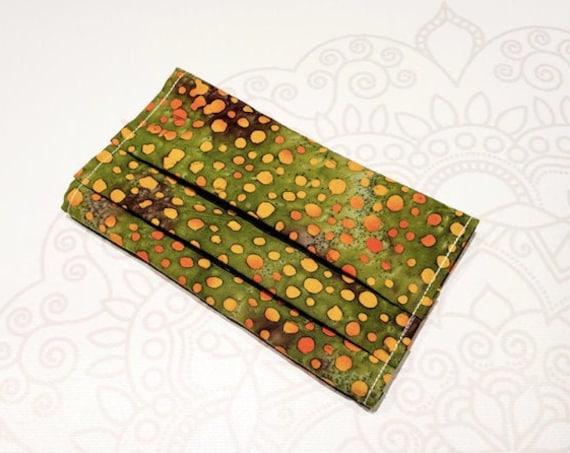 Face Mask COVER, For Ear Looped Masks,  Green Orange Dot Batik Print, For Adult Size Masks, Washable Mask Cover