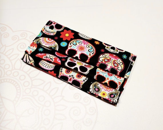 READY to SHIP, Face Mask COVER, For Ear Looped Masks,  Sugar Skull Print, For Adult Size Masks, Washable Mask Cover