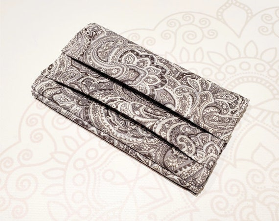 READY to SHIP, Face Mask COVER, For Ear Looped Masks,  Grey Paisley Print, For Adult Size Masks, Washable Mask Cover