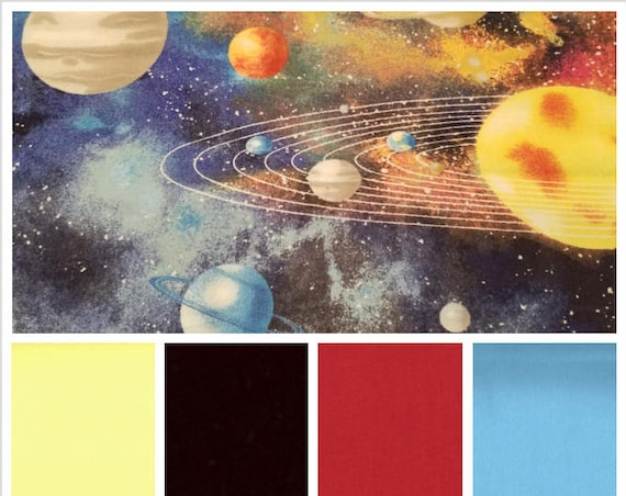Solar System Weighted Blanket, Cotton Flannel, Up to Twin Size, 3 to 20 Pounds, Adult Weighted Blanket, SPD, Autism, Calming Blanket