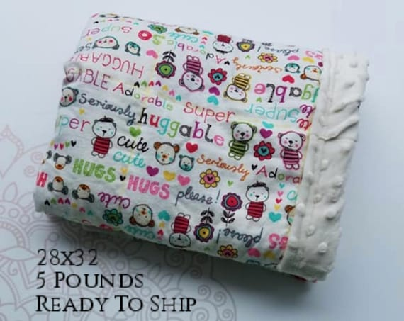 READY to SHIP, Weighted Blanket, 28x32-5 Pounds, Huggable Front, Ivory Minky Back, Sensory Blanket, Calming Blanket,