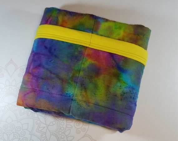 Rainbow Tie Dye Weighted Blanket, Cotton Flannel, Up to Twin Size, 3 to 20 Pounds, Adult Weighted Blanket, SPD, Autism, Calming Blanket