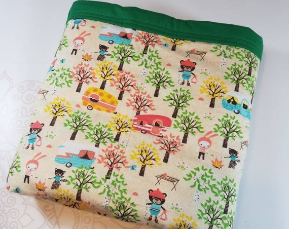 Camping, Weighted Blanket, Cotton Flannel, Up to Twin Size, 3 to 20 Pounds, Adult Weighted Blanket, SPD, Autism, Calming Blanket
