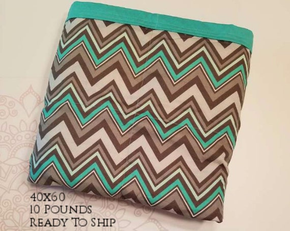 READY to SHIP, Weighted Blanket, 40x60-10 Pounds, Gray Mint Chevron Cotton Front, Teal Woven Cotton Back, Sensory Blanket, Calming Blanket,