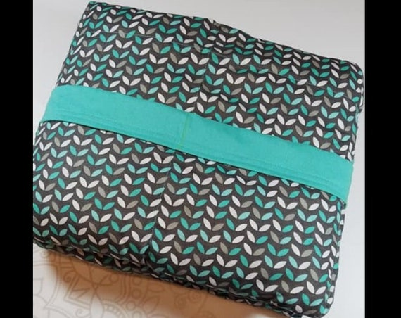 READY to SHIP, Weighted Blanket, 40x50-15 Pounds, Teal Leaves Cotton Front, Teal Woven Cotton Back, Sensory Blanket, Calming Blanket,