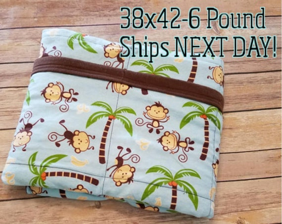 Monkey, 6 Pound, WEIGHTED BLANKET, Ready To Ship, 6 pounds, 38x42 for Autism, Sensory, ADHD, Calming