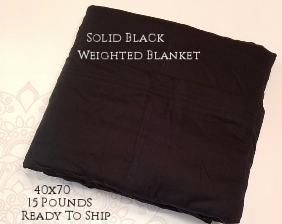 READY to SHIP, Weighted Blanket, 40x70-15 Pounds, Black Woven Cotton Front, Black Woven Cotton Back, Sensory Blanket, Calming Blanket,