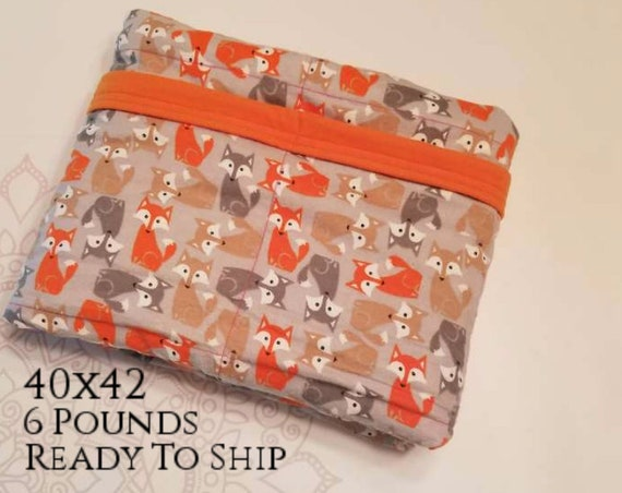 READY to SHIP, Weighted Blanket, 40-42, 6 Pounds, Gray Orange Foxes, Orange Flannel Back, Sensory Blanket, Calming Blanket,
