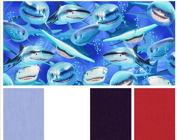 Shark Attack, Weighted Blanket, Cotton, Up to Twin Size, 3 to 20 Pounds, 3 to 20 lb, Adult Weighted Blanket, SPD, Autism, Calming Blanket