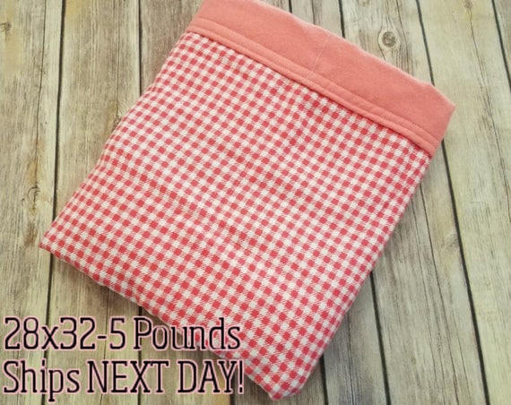 Coral Gingham, 5 Pound, WEIGHTED BLANKET, Ready To Ship 5 pounds, 28x32, for Autism, Sensory, ADHD, Calming, Anxiety,
