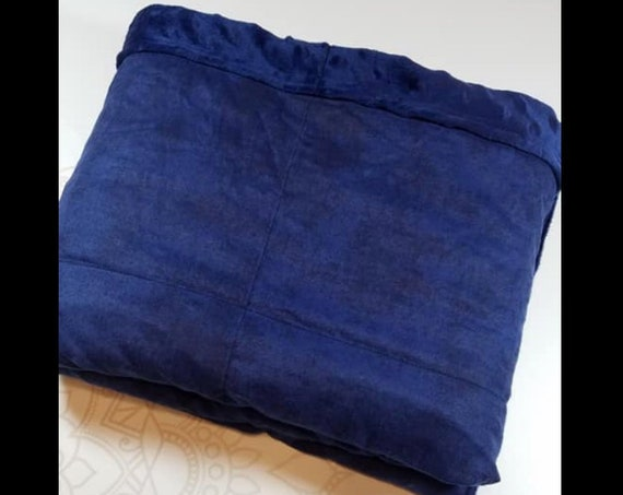 READY to SHIP, Weighted Blanket, 40x42-10 Pounds, Navy Tie Dye Cotton Flannel Front, Navy Minky Back, Sensory Blanket, Calming Blanket,