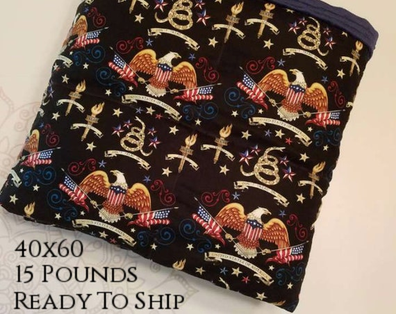 READY to SHIP, Weighted Blanket, 40x60-15 Pounds, Eagle Woven Cotton,  Navy Minky Back, Sensory Blanket, Calming Blanket,
