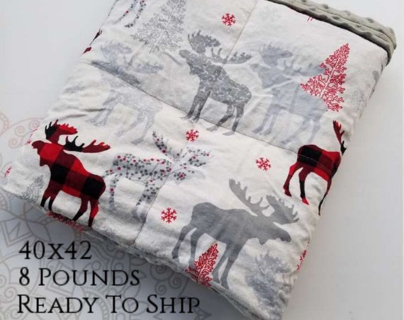 READY to SHIP, Weighted Blanket, 40x42-8 Pounds, Moose Flannel, Gray Minky Back, Sensory Blanket, Calming Blanket,