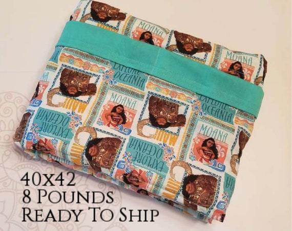 READY to SHIP, Weighted Blanket, 40-42-8 Pounds, Movie, Teal Woven Cotton Back, Sensory Blanket, Calming Blanket,