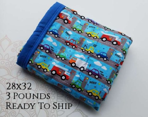 READY to SHIP, Weighted Blanket, 28x32-3 Pounds, Traffic Front, Royal Blue Back, Sensory Blanket, Calming Blanket,