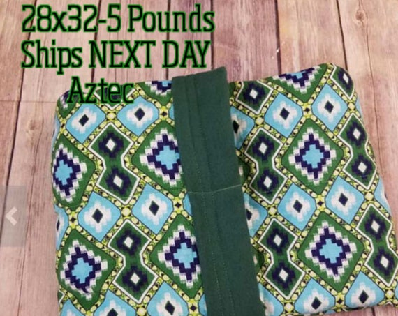 Aztec, 5 Pound, WEIGHTED BLANKET, Ready To Ship, 5 pounds, 28x32, for Autism, Sensory, ADHD, Calming, Anxiety,